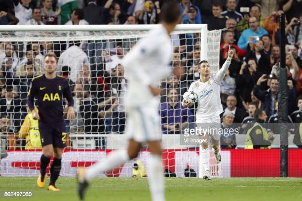 Christian Eriksen of Tottenham Hotspur FC Cristiano Ronaldo of Real Madrid during the UEFA Champions League group H match between Real Madrid and...
