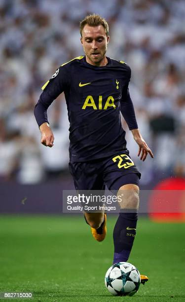 Christian Eriksen of Tottenham Hotspur in action during the UEFA Champions League group H match between Real Madrid and Tottenham Hotspur at Estadio...