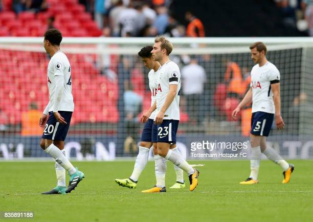 Christian Eriksen of Tottenham Hotspur is dejected after the Premier League match between Tottenham Hotspur and Chelsea at Wembley Stadium on August...