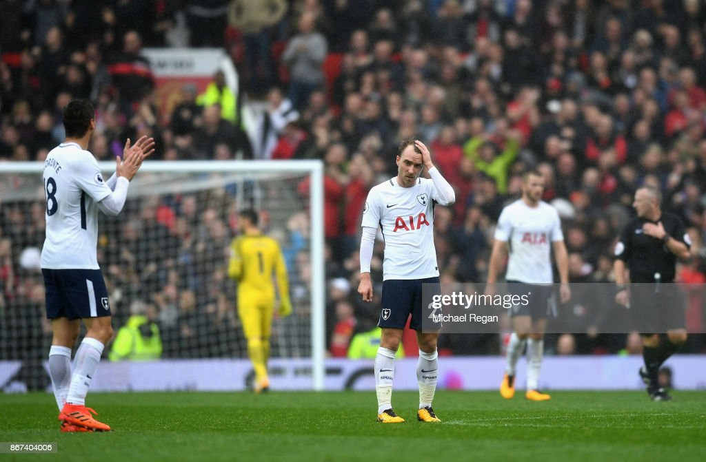 Christian Eriksen of Tottenham Hotspur is dejected during the Premier League match between Manchester United and Tottenham Hotspur at Old Trafford on October 28, 2017 in Manchester, England.