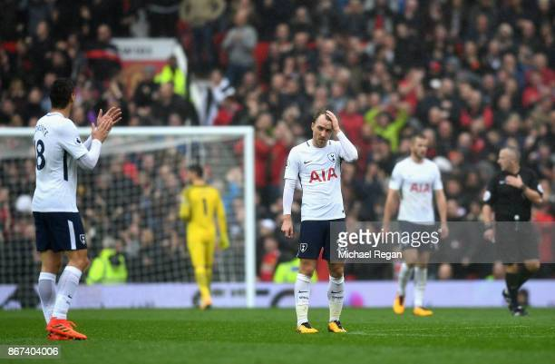 Christian Eriksen of Tottenham Hotspur is dejected during the Premier League match between Manchester United and Tottenham Hotspur at Old Trafford on...