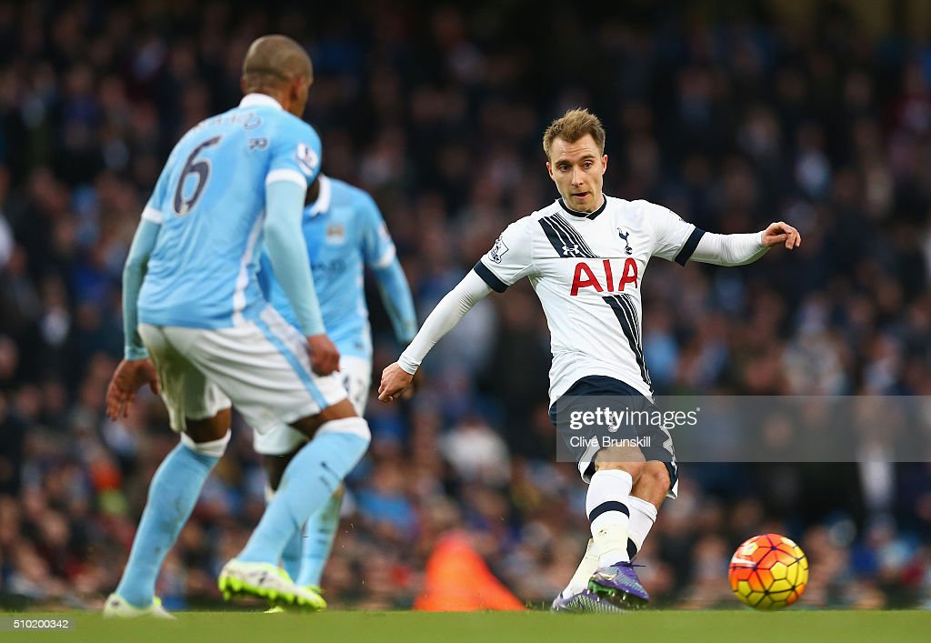 Christian Eriksen of Tottenham Hotspur passes during the Barclays Premier League match between Manchester City and Tottenham Hotspur at Etihad Stadium on February 14, 2016 in Manchester, England.