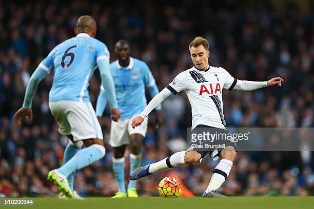 Christian Eriksen of Tottenham Hotspur passes during the Barclays Premier League match between Manchester City and Tottenham Hotspur at Etihad...