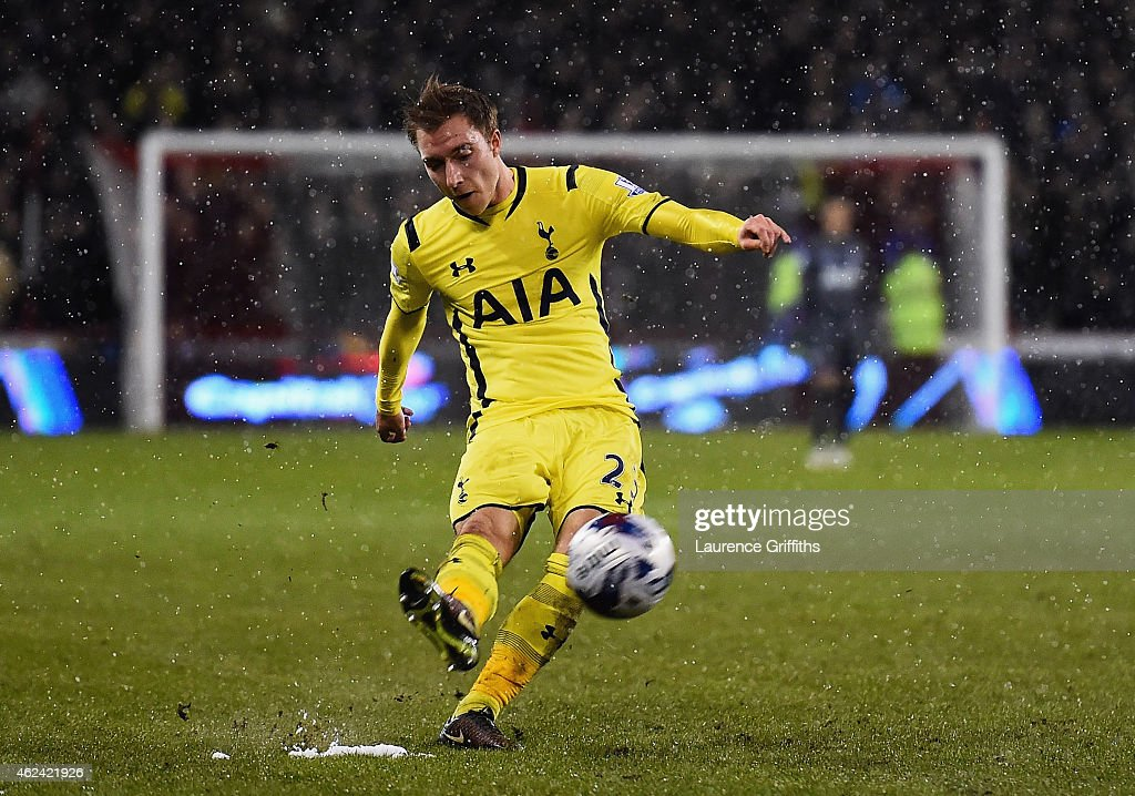 Christian Eriksen of Tottenham Hotspur scores from a free kick during the Capital One Cup Semi-Final Second Leg match between Sheffield United and Tottenham Hotspur at Bramall Lane on January 28, 2015 in Sheffield, England.