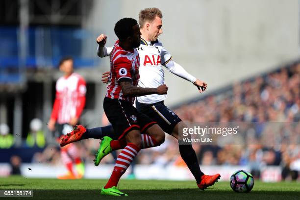 Christian Eriksen of Tottenham Hotspur scores his sides first goal during the Premier League match between Tottenham Hotspur and Southampton at White...