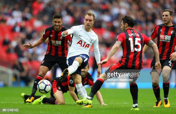 Christian Eriksen of Tottenham Hotspur scores his sides first goal during the Premier League match between Tottenham Hotspur and AFC Bournemouth at...
