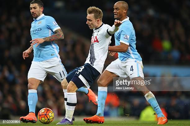 Christian Eriksen of Tottenham Hotspur scores his team's second goal during the Barclays Premier League match between Manchester City and Tottenham...