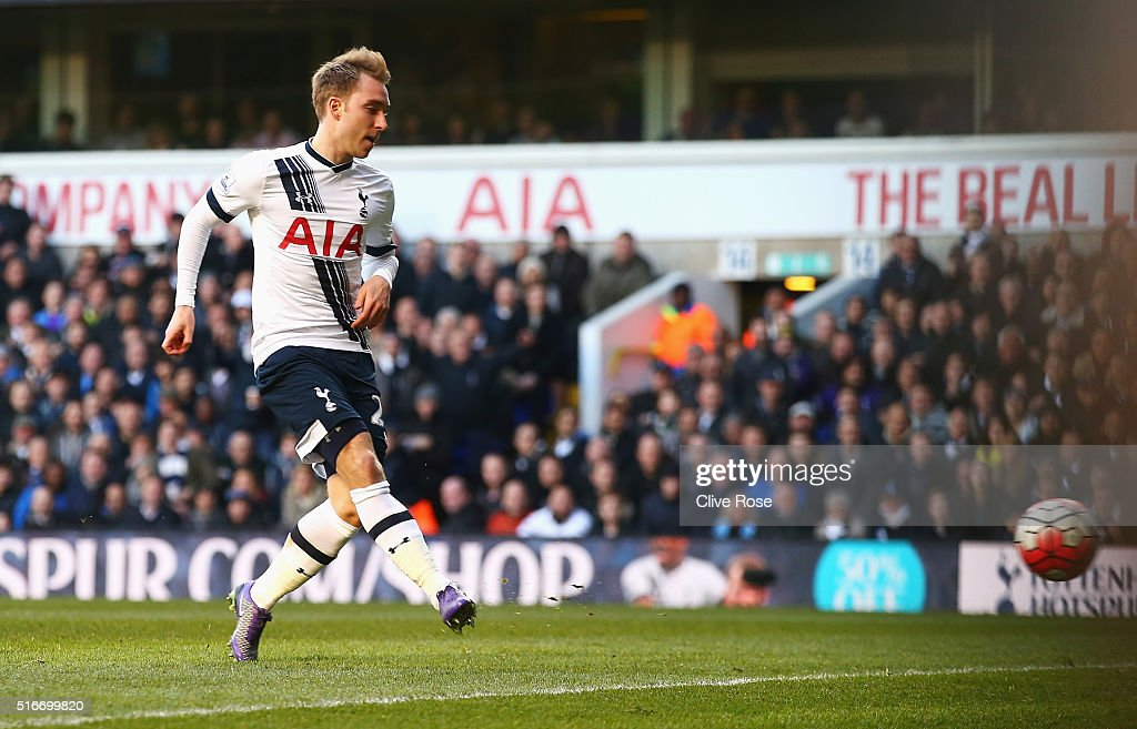 Christian Eriksen of Tottenham Hotspur scores their third goal during the Barclays Premier League match between Tottenham Hotspur and A.F.C. Bournemouth at White Hart Lane on March 20, 2016 in London, United Kingdom.