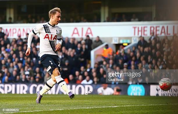 Christian Eriksen of Tottenham Hotspur scores their third goal during the Barclays Premier League match between Tottenham Hotspur and AFC Bournemouth...