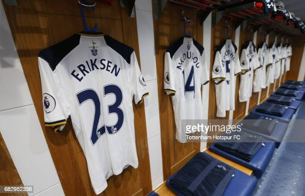 Christian Eriksen of Tottenham Hotspur shirt hangs in the changing room prior to the Premier League match between Tottenham Hotspur and Manchester...