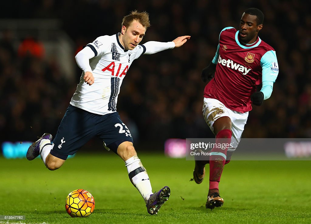 Christian Eriksen of Tottenham Hotspur takes on Pedro Mba Obiang of West Ham United during the Barclays Premier League match between West Ham United and Tottenham Hotspur at Boleyn Ground on March 2, 2016 in London, England.