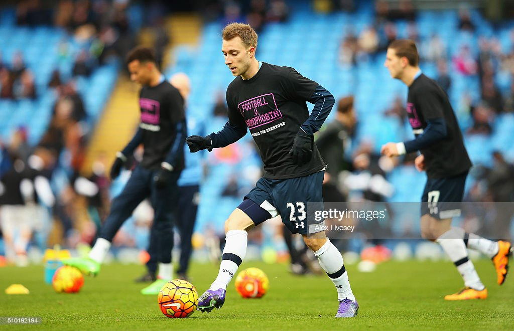<a gi-track='captionPersonalityLinkClicked' href=/galleries/search?phrase=Christian+Eriksen&family=editorial&specificpeople=6757192 ng-click='$event.stopPropagation()'>Christian Eriksen</a> of Tottenham Hotspur warms up prior to the Barclays Premier League match between Manchester City and Tottenham Hotspur at Etihad Stadium on February 14, 2016 in Manchester, England.