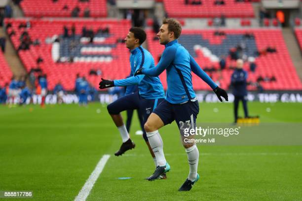 Christian Eriksen of Tottenham Hotspur warms up prior to the Premier League match between Tottenham Hotspur and Stoke City at Wembley Stadium on...