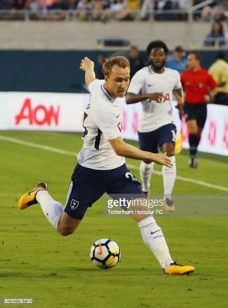 Christian Eriksen of Tottenham Hotspurs works the ball against Paris SaintGermain during a International Champions Cup 2017 game at Camping World...