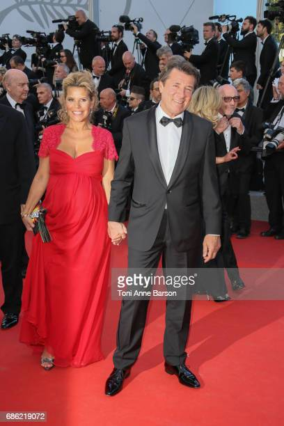 Christian Estrosi and Laura Tenoudji attend the 'Ismael's Ghosts ' screening and Opening Gala during the 70th annual Cannes Film Festival at Palais...