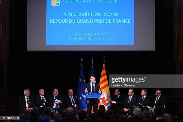 Christian Estrosi president of the PACA region officially announces the return of the F1 Grand Prix in France at a press conference at the Automobile...