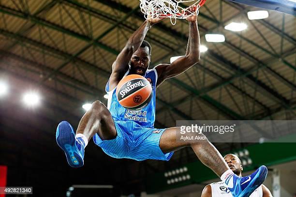 Christian Eyenga #31 of Dinamo Banco di Sardegna Sassari in action during the Turkish Airlines Euroleague Basketball Regular Season Date 1 game...