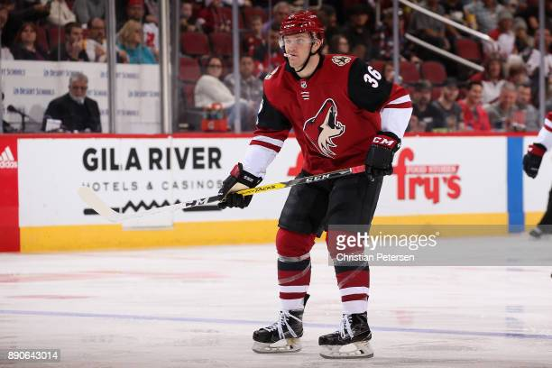 Christian Fischer of the Arizona Coyotes in action during the third period of the NHL game against the New Jersey Devils at Gila River Arena on...