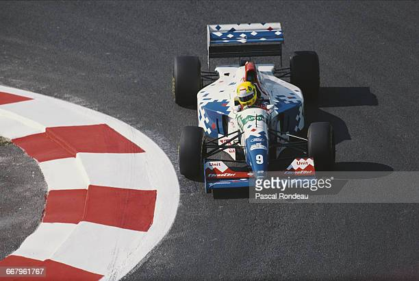 Christian Fittipaldi of Brazil drives the Footwork Ford Footwork FA15 Ford HB V8 during practice for the RhonePoulenc French Grand Prix on 2 July...