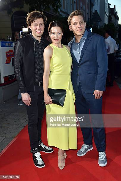 Christian Friedel Hannah Herzsprung and Hanno Koffler during the ARD Degeto Get Together during the Munich Film Festival 2016 at Kaisergarten on June...