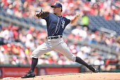 Christian Friedrich of the San Diego Padres pitches during a baseball game against the Washington Nationals at Nationals Park on July 24 2016 in...