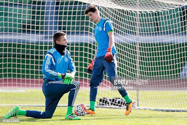 Christian Fruchtl and Marian Prinz of Germany warming up during the UEFA Under16 match between U16 Portugal v U16 Germany on February 4 2016 in Vila...