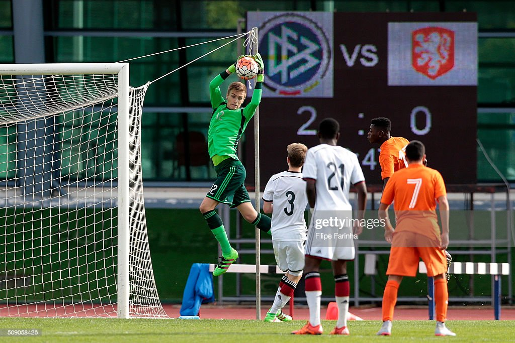 Christian Fruchtl of Germany during the UEFA Under16 match between U16 Germany v U16 Netherlands on February 8, 2016 in Vila Real de Santo Antonio, Portugal. (Photo by Filipe Farinha/Bongarts/Getty Images
