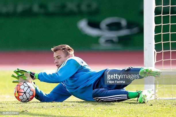 Christian Fruchtl of Germany warming up during the UEFA Under16 match between U16 Portugal v U16 Germany on February 4 2016 in Vila Real de Santo...