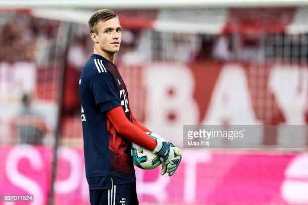 Christian Fruechtl of Bayern Muenchen looks on prior the Bundesliga match between FC Bayern Muenchen and Bayer 04 Leverkusen at Allianz Arena on...