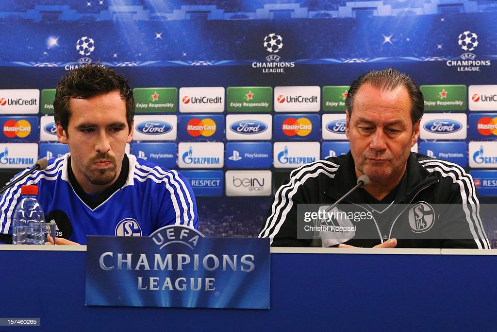 <a gi-track='captionPersonalityLinkClicked' href=/galleries/search?phrase=Christian+Fuchs&family=editorial&specificpeople=4143238 ng-click='$event.stopPropagation()'>Christian Fuchs</a> and head coach <a gi-track='captionPersonalityLinkClicked' href=/galleries/search?phrase=Huub+Stevens&family=editorial&specificpeople=2380209 ng-click='$event.stopPropagation()'>Huub Stevens</a> attend the press conference of FC Schalke 04 at training ground of Montpellier ahead of the UEFA Champions League group B match between Montpellier Herault SC and FC Schalke 04 on December 3, 2012 in Montpellier, France.