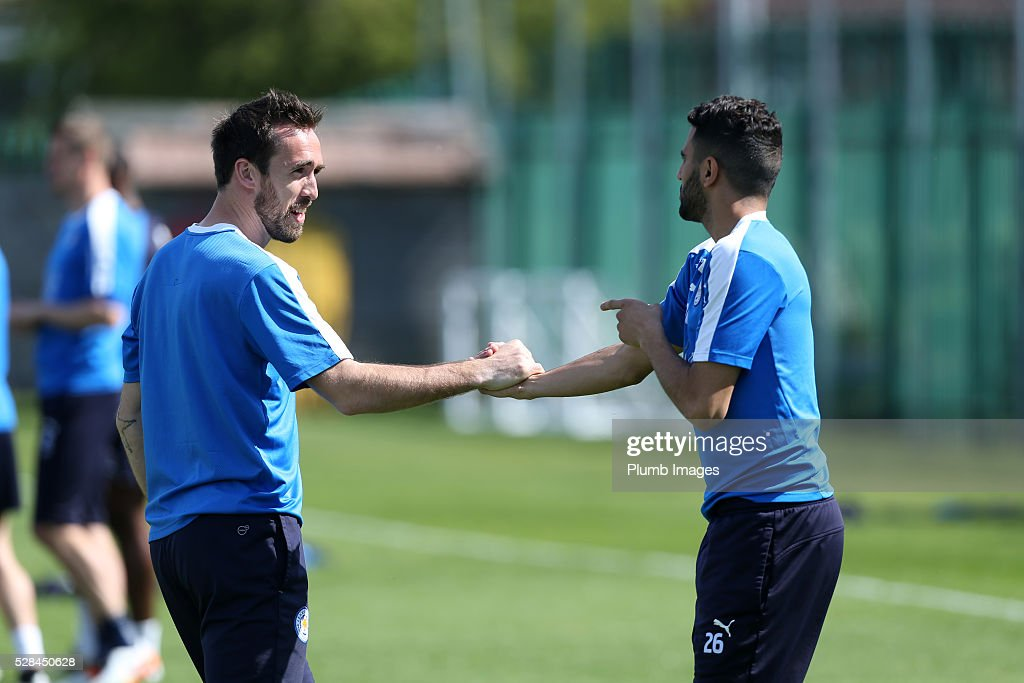 Christian Fuchs and Riyad Mahrez during the Leicester City training session at Belvoir Drive Training Complex on May 05, 2016 in Leicester, United Kingdom.