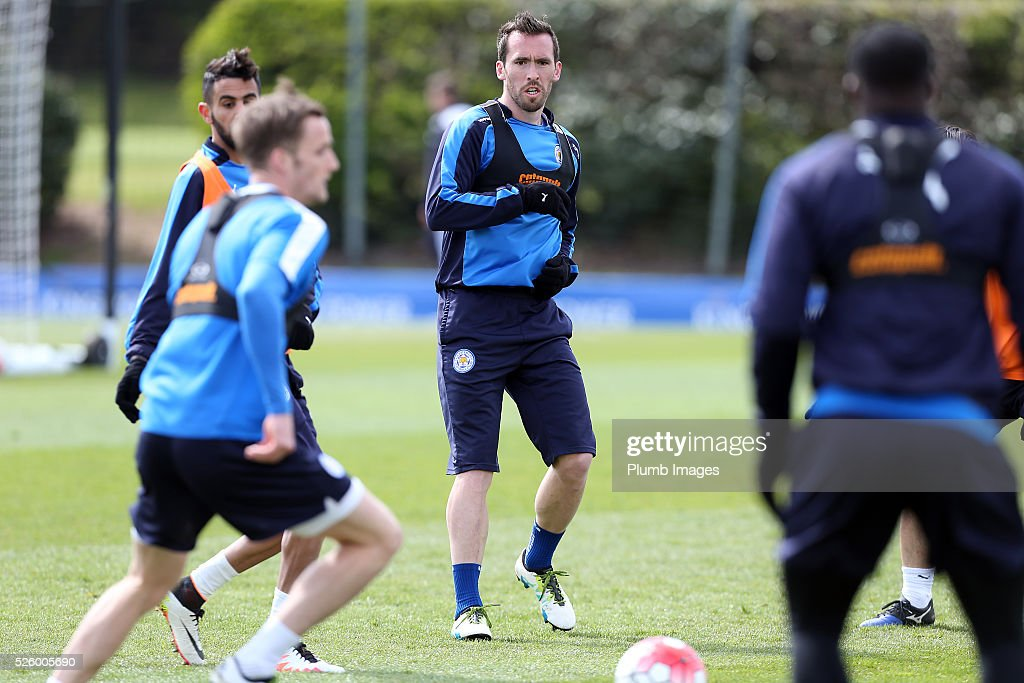 Christian Fuchs during the Leicester City training session at Belvoir Drive Training Complex on April 29, 2016 in Leicester, United Kingdom.