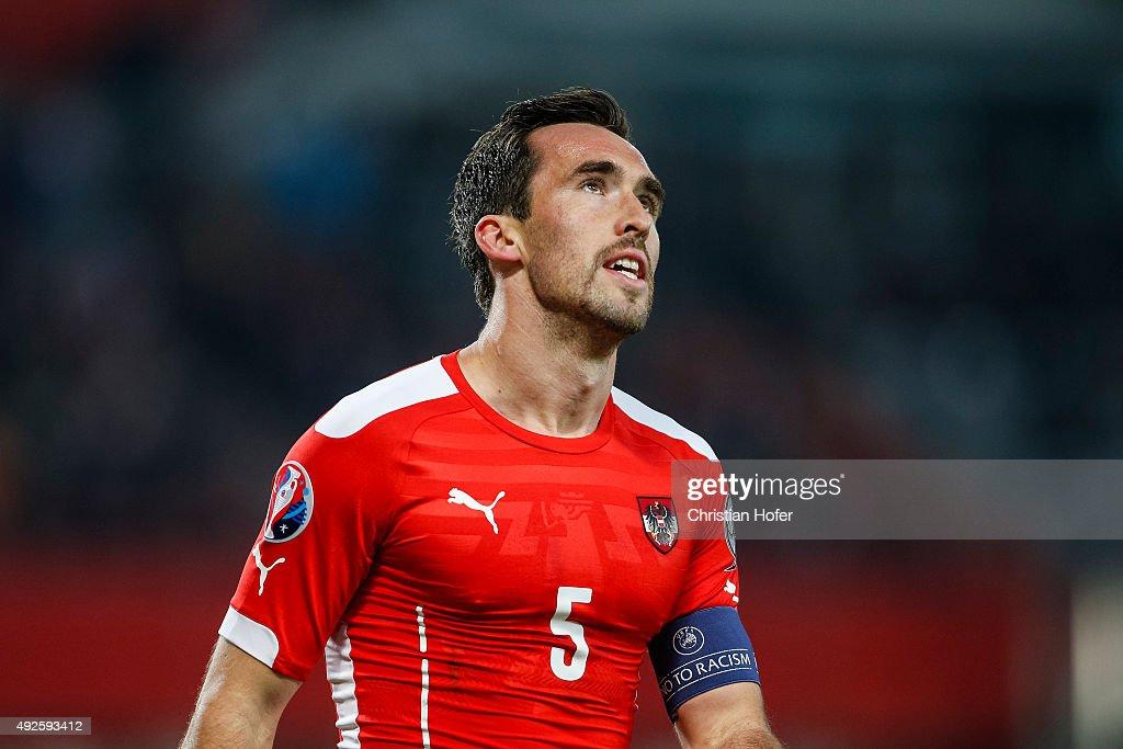 Christian Fuchs of Austria reacts during the UEFA EURO 2016 Qualifier between Austria and Liechtenstein at Ernst Happel Stadion on October 12 2015 in...