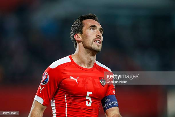 Christian Fuchs of Austria reacts during the UEFA EURO 2016 Qualifier between Austria and Liechtenstein at Ernst Happel Stadion on October 12 2015 in...