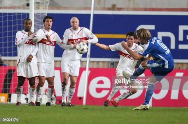 Christian Fuchs of Bochum scores the 2nd goal with a free kick during the Bundesliga match between VfB Stuttgart and VfL Bochum at MercedesBenz Arena...