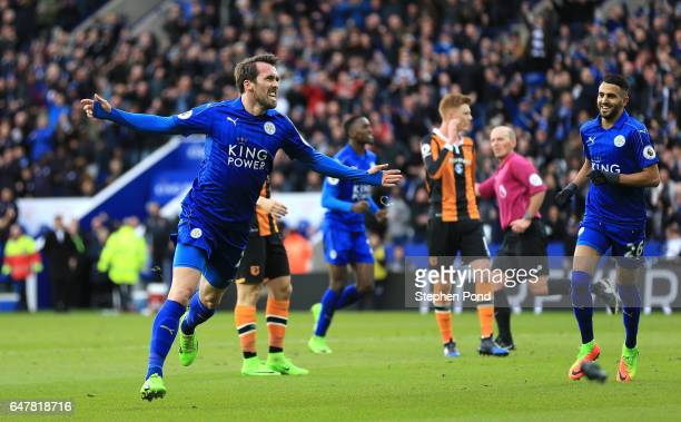 Christian Fuchs of Leicester City celebrates scoring his sides first goal during the Premier League match between Leicester City and Hull City at The...