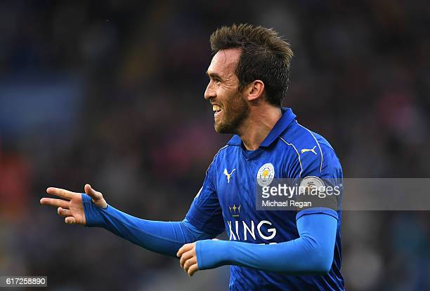 Christian Fuchs of Leicester City celebrates scoring his sides third goal during the Premier League match between Leicester City and Crystal Palace...