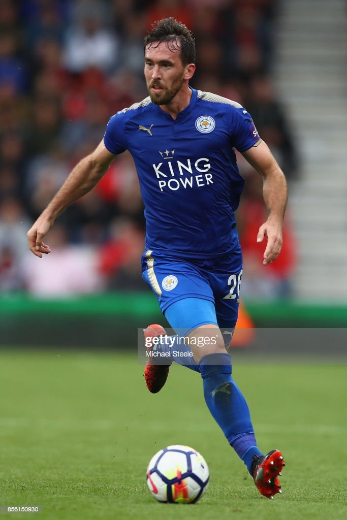 Christian Fuchs of Leicester City during the Premier League match between AFC Bournemouth and Leicester City at Vitality Stadium on September 30, 2017 in Bournemouth, England.