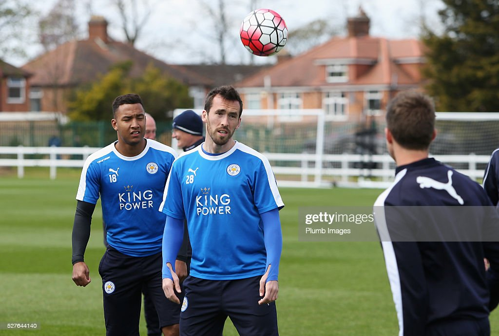 Christian Fuchs of Leicester City heads the ball during a Leicester City training session at Belvoir Drive Training Ground on May 3, 2016 in Leicester, England.