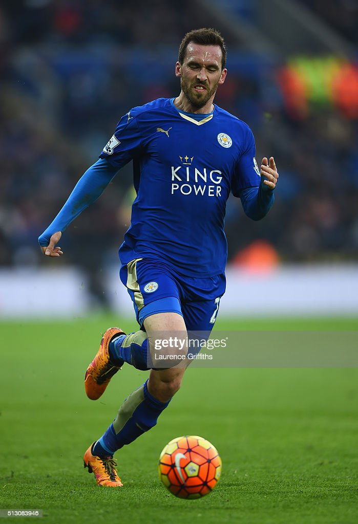 <a gi-track='captionPersonalityLinkClicked' href=/galleries/search?phrase=Christian+Fuchs&family=editorial&specificpeople=4143238 ng-click='$event.stopPropagation()'>Christian Fuchs</a> of Leicester City in action during the Barclays Premier League match between Leicester City and Norwich City at The King Power Stadium on February 27, 2016 in Leicester, England.