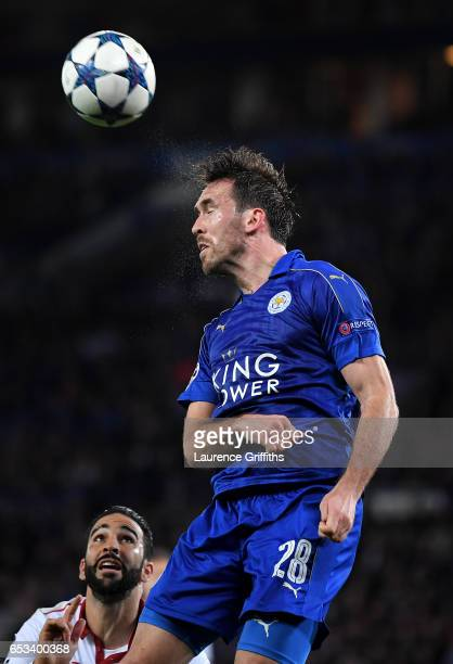 Christian Fuchs of Leicester City in action during the UEFA Champions League Round of 16 second leg match between Leicester City and Sevilla FC at...
