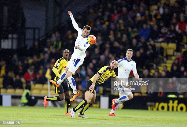 Christian Fuchs of Leicester City wins the ball in the air during the Barclays Premier League match between Watford and Leicester City at Vicarage...