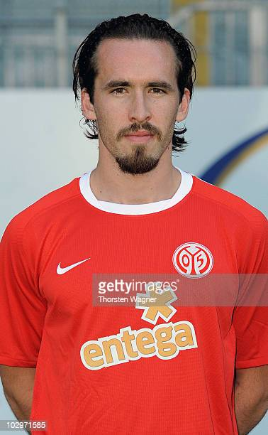Christian Fuchs poses during the FSV Mainz 05 team presentation at Bruchweg stadium on July 19 2010 in Mainz Germany