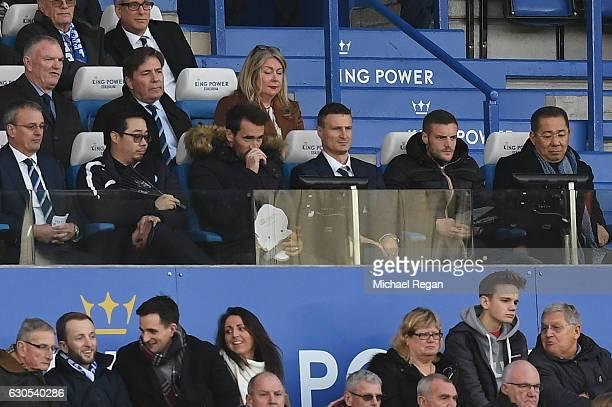 Christian Fuchs Robert Huth Jamie Vardy Leicester Chairman Khun Vichai Srivaddhanaprabha and Greg Clarke watch the action during the Premier League...
