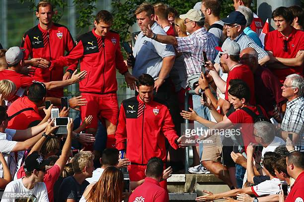 Christian Gentner and team mates arrive for the first training session of VfB Stuttgart at RobertSchlienzStadion on June 29 2015 in Stuttgart Germany