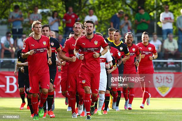 Christian Gentner and team mates run during the first training session of VfB Stuttgart at RobertSchlienzStadion on June 29 2015 in Stuttgart Germany