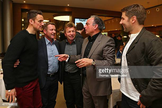 Christian Gentner Karlheinz Foerster Bernd Foerster Hansi Mueller and Thomas Hitzelsperger attend the club of former German National players meeting...