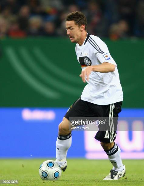 Christian Gentner of Germany plays the ball during the FIFA 2010 World Cup Group 4 Qualifier match between Germany and Finland at the HSH Nordbank...