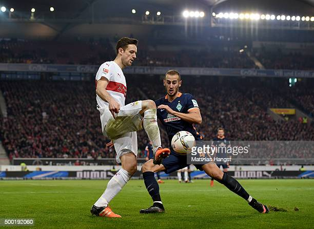 Christian Gentner of Stuttgart and Galvez of Bremen compete for the ball during the Bundesliga match between VfB Stuttgart and Werder Bremen at...