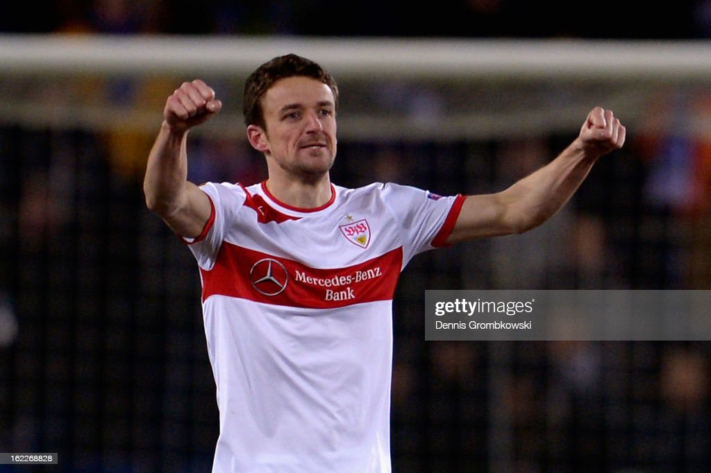 <a gi-track='captionPersonalityLinkClicked' href=/galleries/search?phrase=Christian+Gentner&family=editorial&specificpeople=228707 ng-click='$event.stopPropagation()'>Christian Gentner</a> of Stuttgart celebrates after scoring his team's second goal during the UEFA Europa League Round of 32 second leg match between KRC Genk and VfB Suttgart at Cristal Arena on February 21, 2013 in Genk, Belgium.